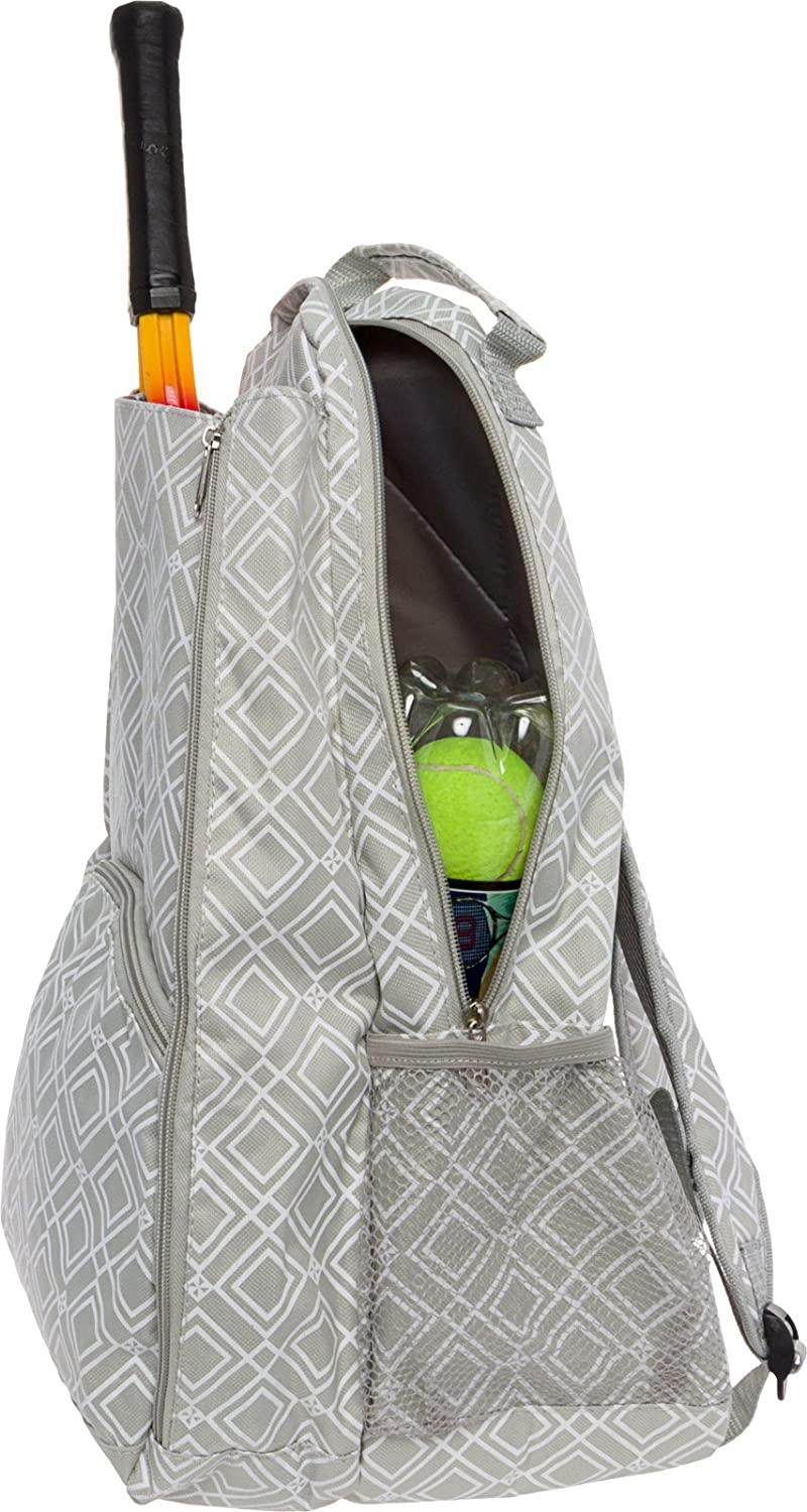 LISH Advantage Tennis Racket Backpack - Women's Geometric Diamond Print Tennis Racquet Holder Bag (Grey): Clothing