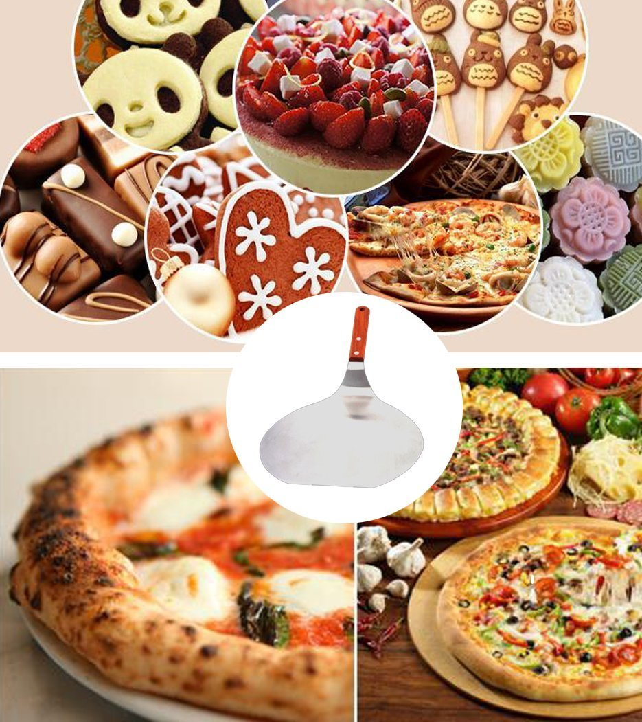 Bottom Mover Scraper for Kitchen Baking 8-inch Stainless Steel Cookie Spatula Pizza Paddle Peel Pancake Tray Fondant Moving Paste Tool Bread Pan Cake Safe Lifter Transfer Shovel