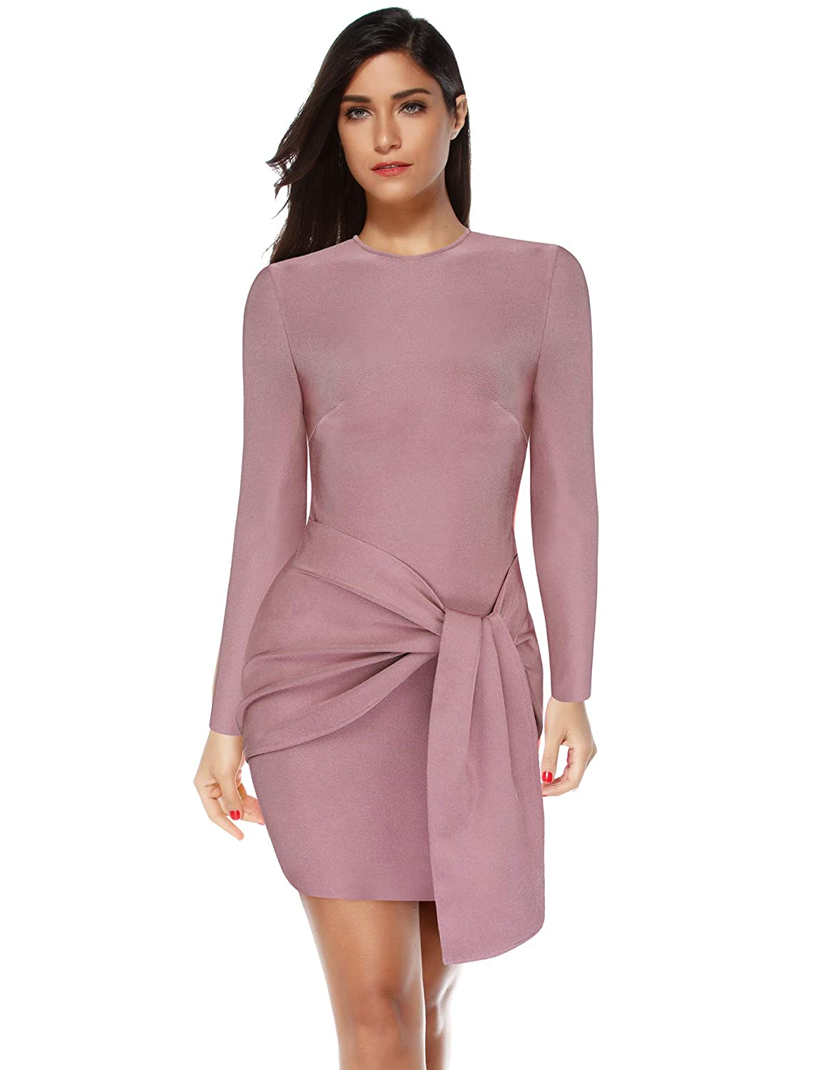 e4e5890662 Amazon.com  Meilun Women s Rayon Long Sleeve Bandage Bodycon Party Dress   Clothing