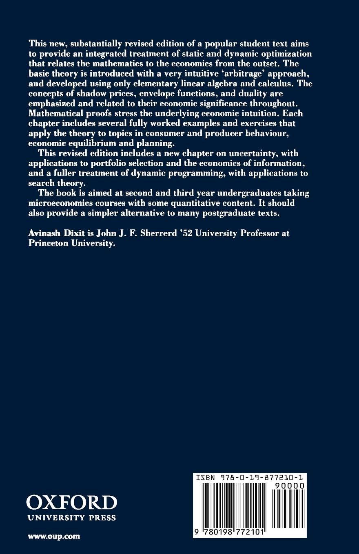Optimization in Economic Theory: Amazon.es: Dixit, Avinash K.: Libros en idiomas extranjeros