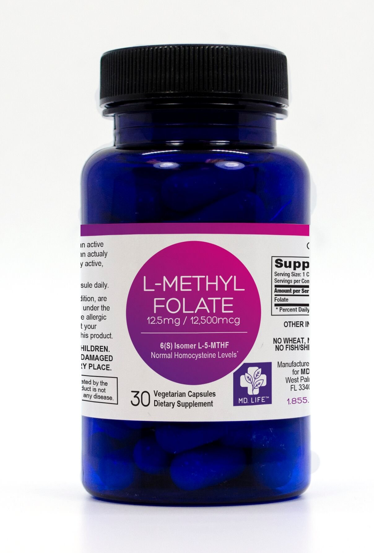 MD.LIFE 5-MTHF L-Methylfolate 12.5 MG Professional Strength Active Folate 30 Capsules (30)