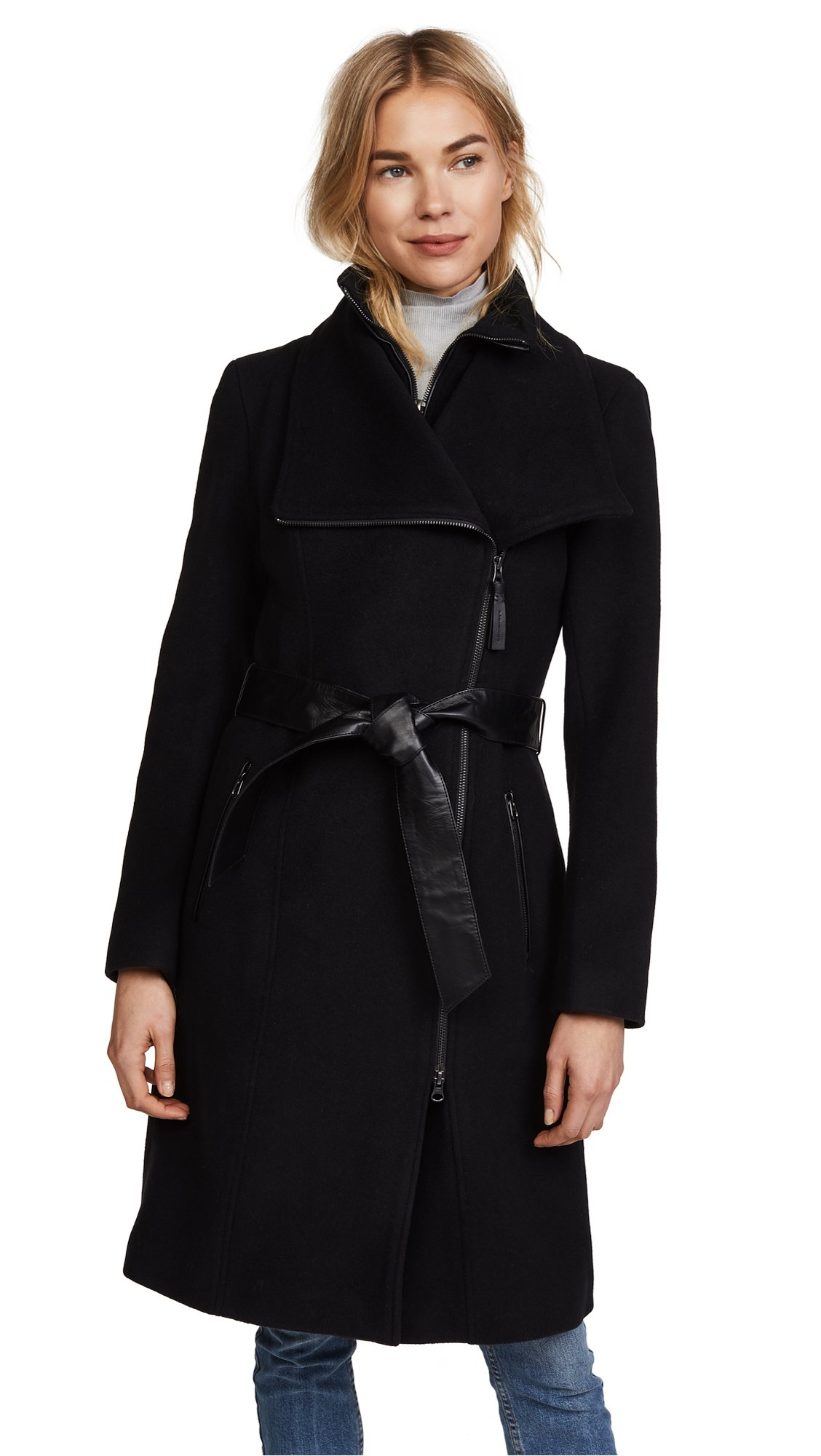 Mackage Women's Nori Belted Wool Coat with Leather Trim, Black, Large