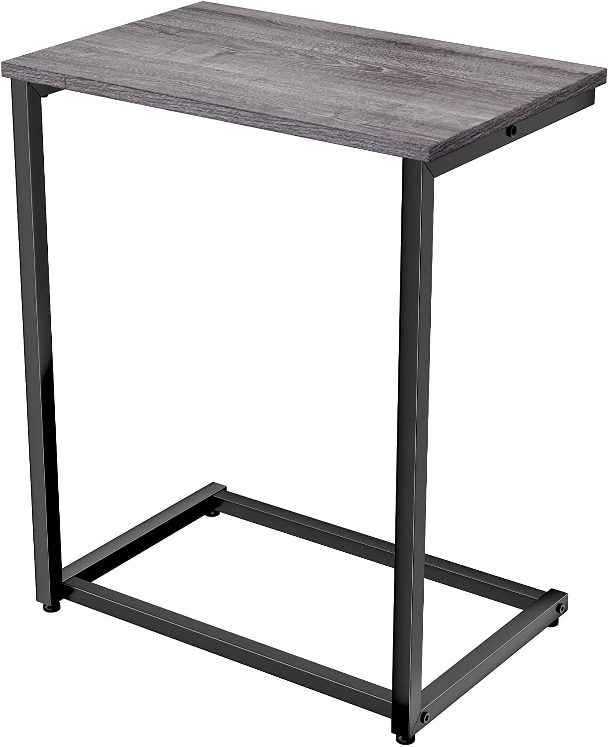 Homemaxs C Table Sofa Side End Table Wood Finish Steel Construction Easy Assembly 26-Inch for Small Space (Gray)