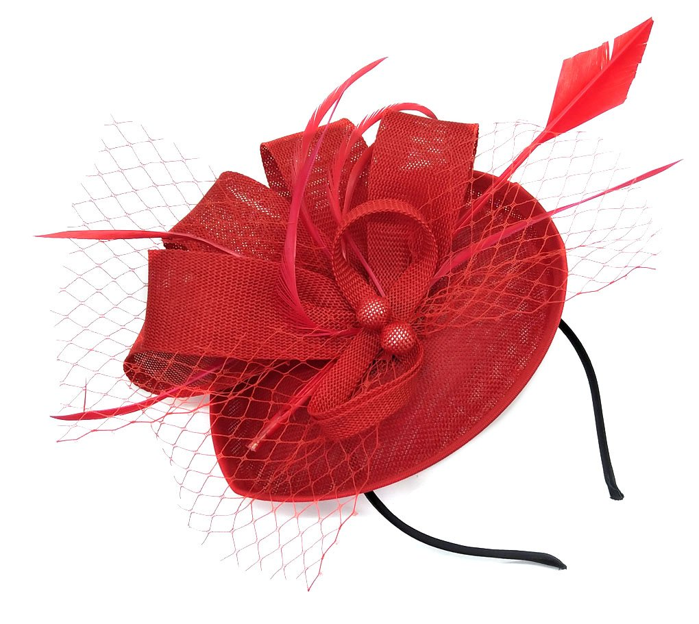 Biruil Fascinators Sinamay Feather Womens Pillbox Flower Derby Cocktail Tea Party Hat (Red) by Biruil (Image #3)