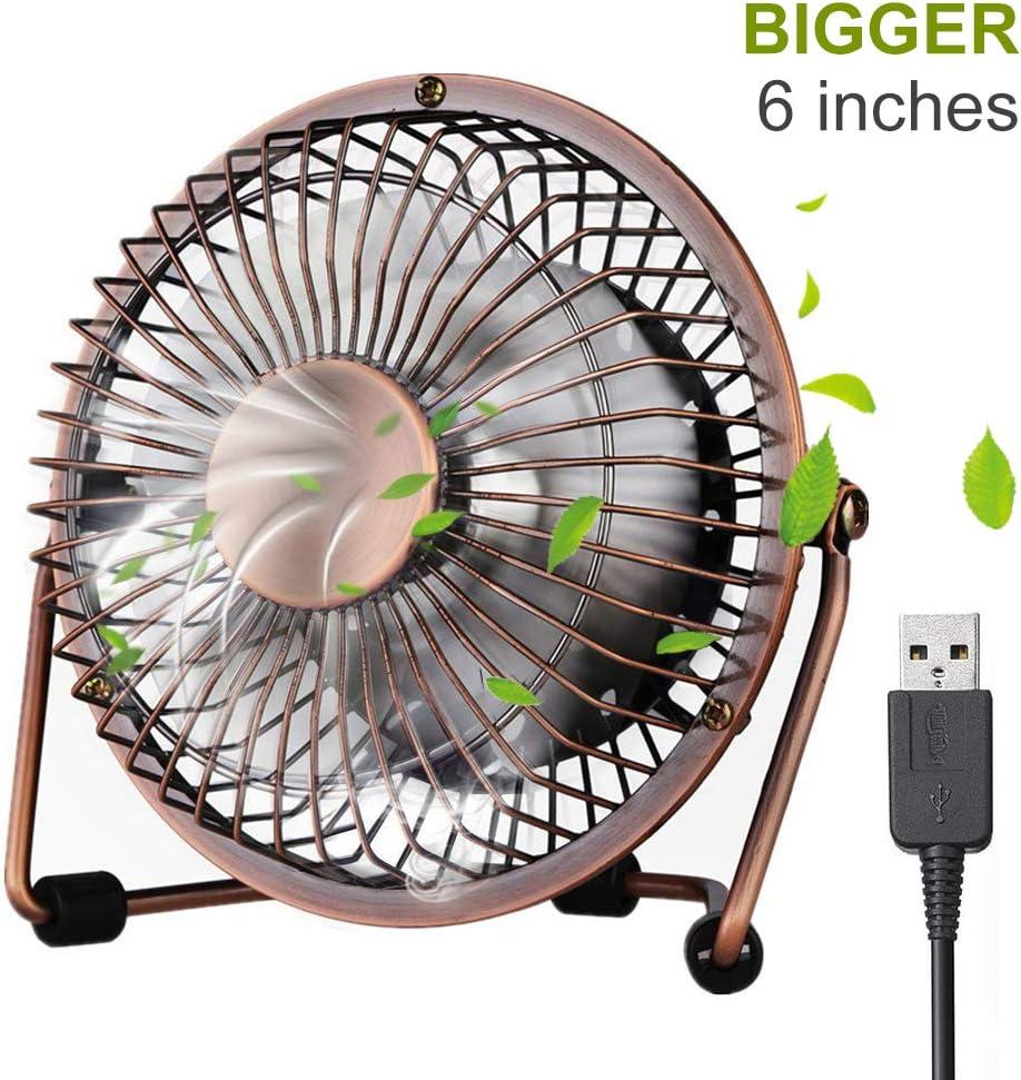 ivoler Mini Ventilador USB Silencioso, Metálico Ventilador de Mesa Potente USB Fan con Ajustable 360 Grados de Rotación para Personal Portátil de Escritorio Hogar Oficina o Viaje, 6 Pulgadas, Cobre