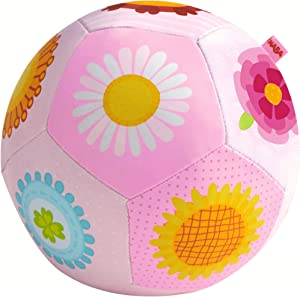Haba 302481 Baby Ball Flower Magic Soft Easy to Grip Fabric Ball with Flower Motifs Baby Toy from 6 Months