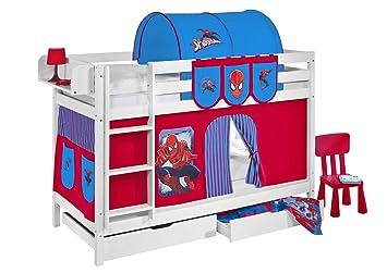 Etagenbett Hochbett Spielbett Kinderbett Jelle 90x200cm Vorhang : Lilokids etagenbett jelle tÜv und gs geprüft spiderman hochbett