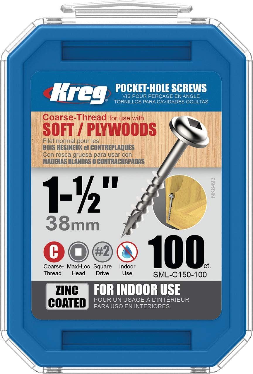 Kreg SML-C150-500 Pocket Hole Screws 1-1//2-Inch #8 Coarse Washer-Head 500ct SML-C150-500