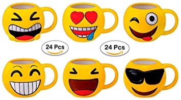 DISOK Lote 24 Tazas Emoticonos - Regalos de Comuniones Niños/Niñas - Tazas Emojis, Emoticonos para Niños, Infantiles, Juveniles. Mugs Desayuno para ...