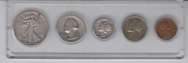 1945 Birth Year Coin Set (5) Coins- Silver Half Dollar, Silver
