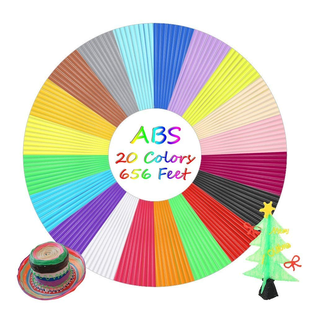 JoyShopping 3D Pen Filament Refills 1.75mm ABS 20 Colors 32.8 Feet Each, Total 656.2 Feet for 3D Pen Printing Drawing 20 CN - by JoyShopping