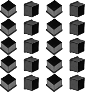 "Bonsicoky 20Pcs Square Rubber Furniture Leg Caps 1.18"" Chair Leg Covers Vinyl Flexible Chair Leg Floor Protectors Plastic End Caps for Patio/Indoor Furniture Leg Caps (30 x 30mm, Black)"
