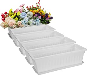 Fasmov 5 Pack 17 Inches White Flower Window Box Plastic Vegetable Planters with Trays Vegetables Growing Container Garden Flower Plant Pot for Balcony, Window Sill, Patio, Garden