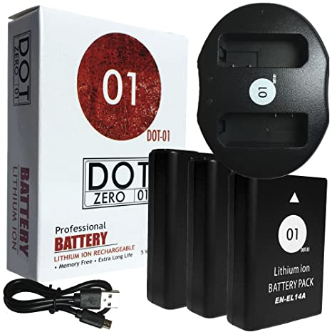3 x dot-01 marca Nikon D3200 pilas y cargador de doble ...