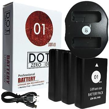 3 x dot-01 marca Nikon D3200 pilas y cargador de doble ranura usb ...