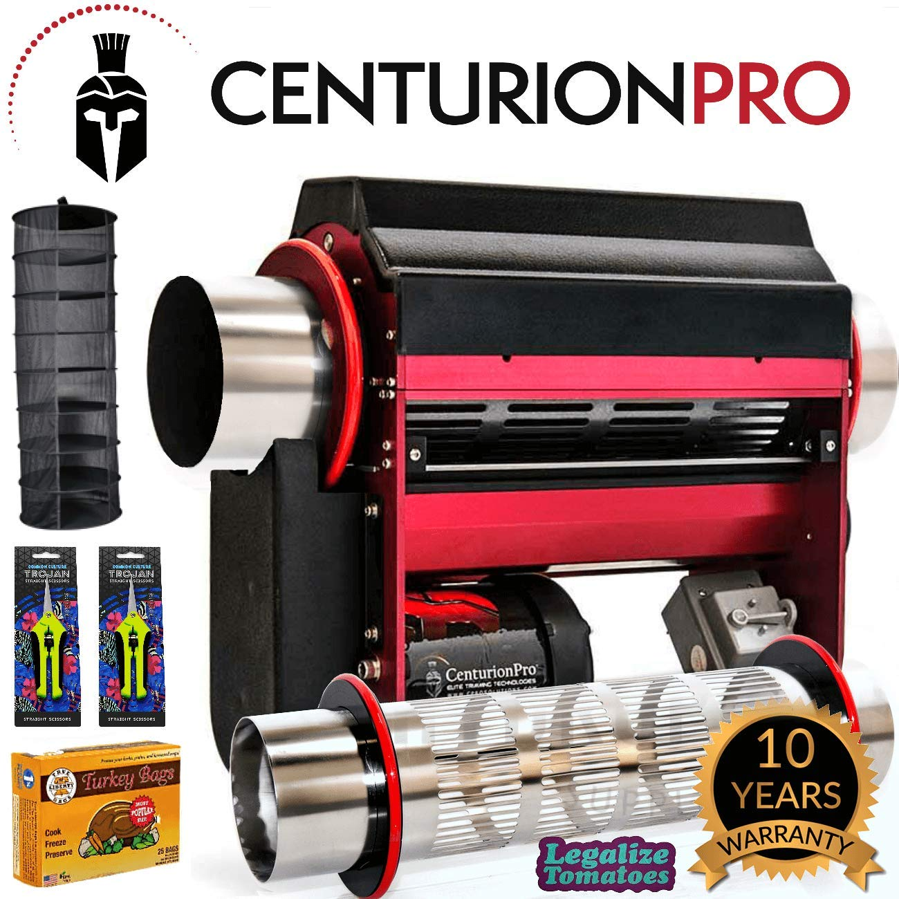 Centurion Pro Tabletop Trimmer with 2 Electropolished Tumblers Wet and Dry - Includes 2x Common Culture Trimming Scissors, Turkey Bags and Accessories (8 Items) by Centurion Pro