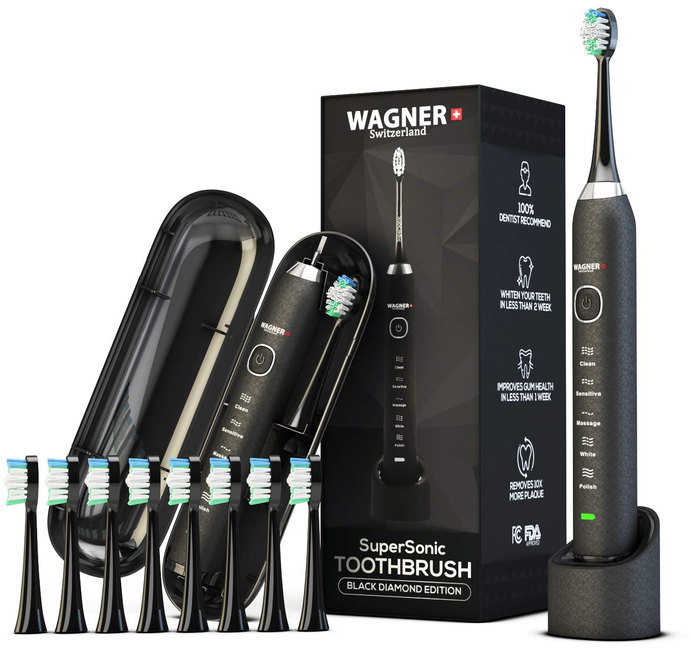 WAGNER Switzerland. SuperSonic, ULTRA Whitening | 48,000 VPM Wireless Electric Toothbrush | 5 Modes w Smart Timer | 8 DuPont bristles | Travel Case | 100% Dentist Recommended & Designed