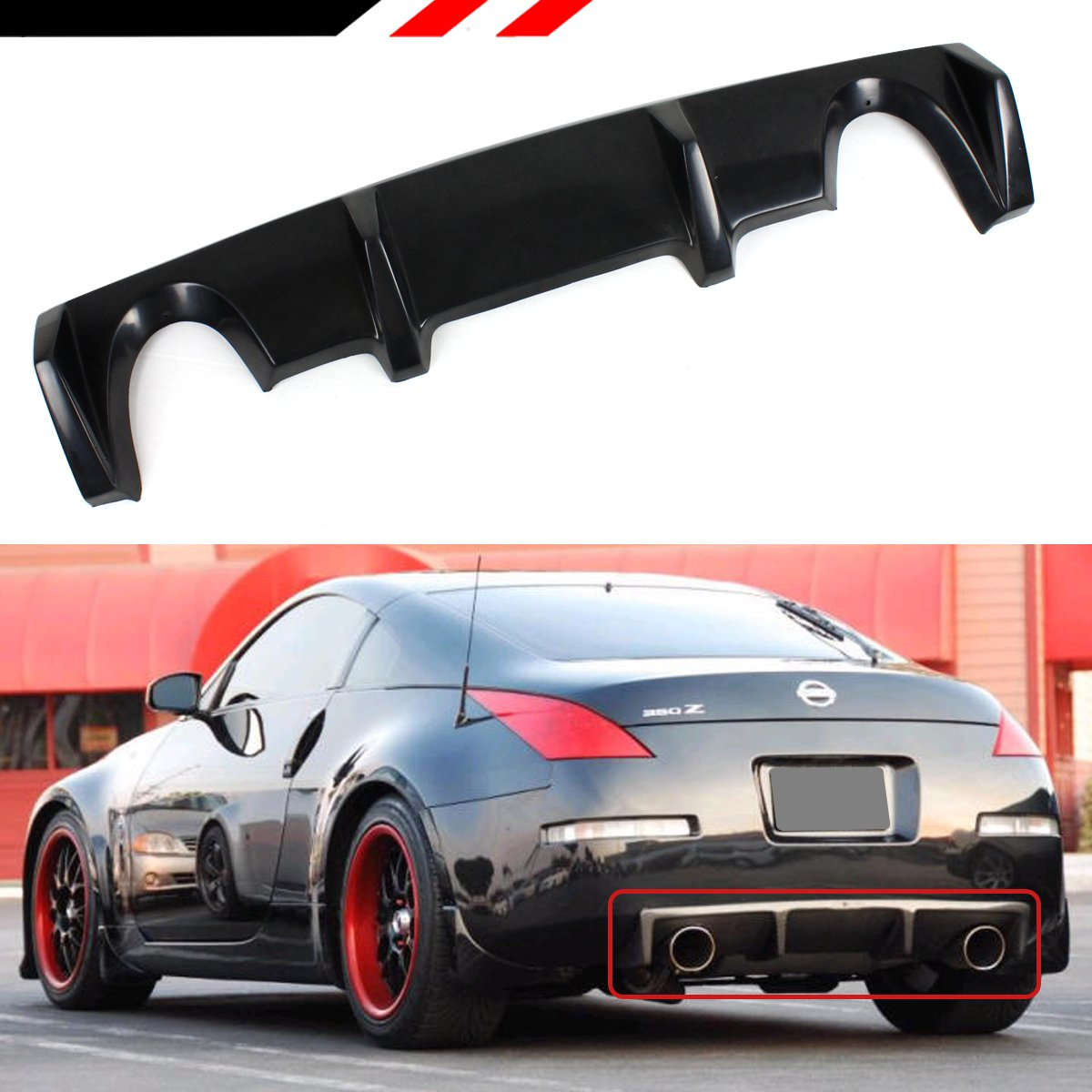 Fits for 2003-2009 Nissan 350Z Z33 Fairlady Z JDM Shark Fin Rear Bumper  Diffuser Lip