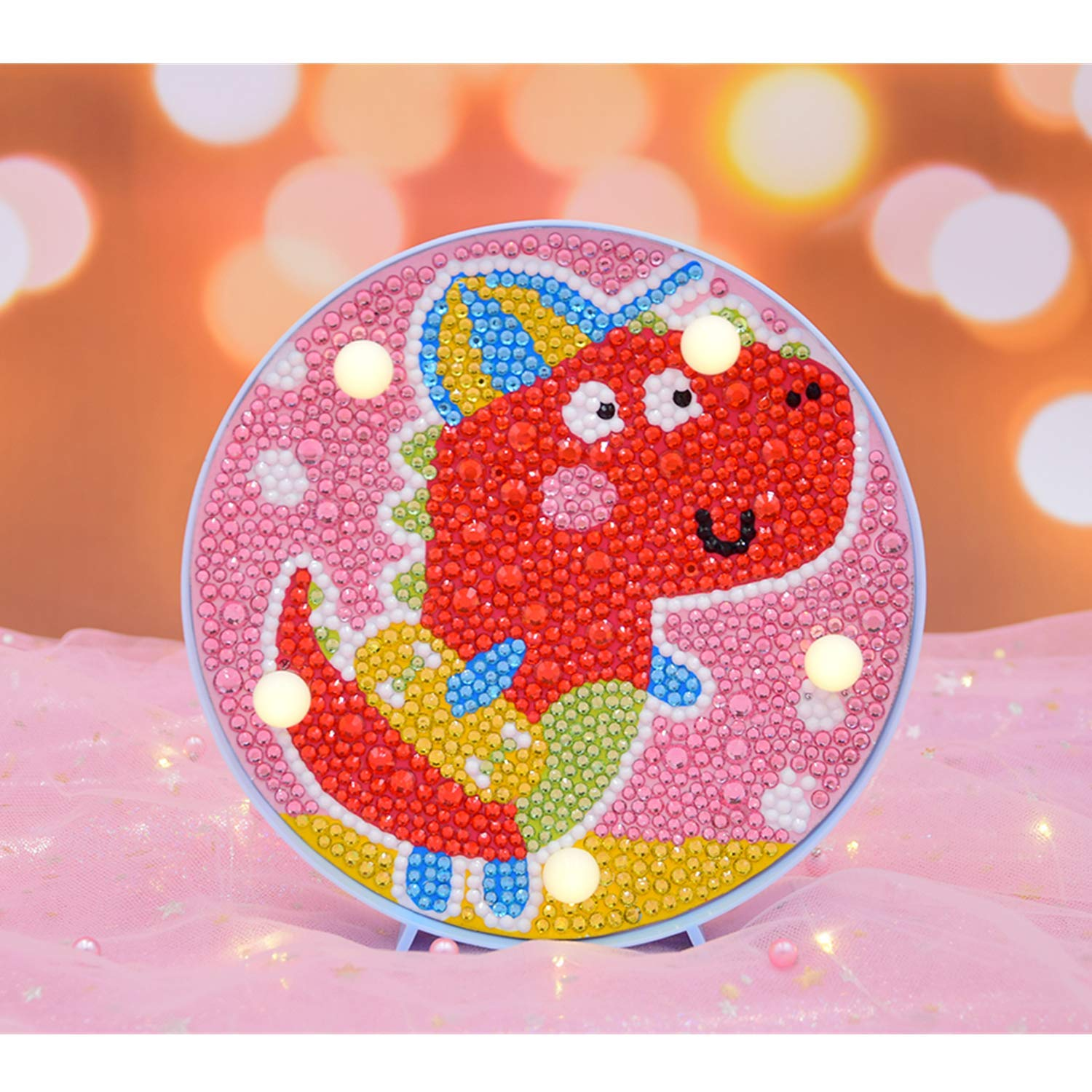 Unicorn B Diamond Painting Unicorn with LED Lights DIY Special Shaped Full Drill Crystal Diamond Drawing Bedside Lamp for Home Decoration or Christmas Gifts-6x6inch