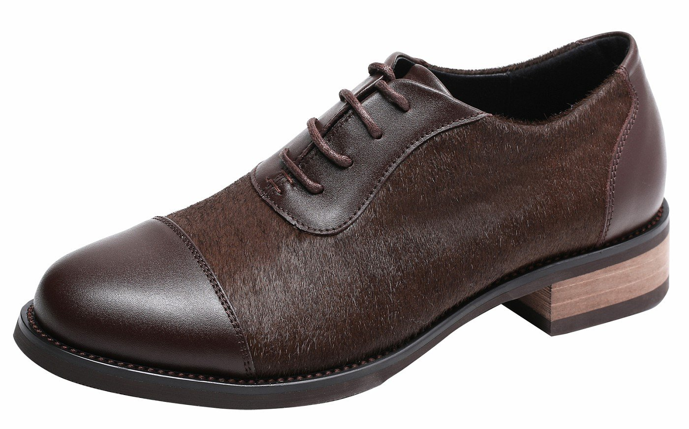 Womens Pieced Cowhide Leather Upper, Lace Up Comfort Oxford Shoes, Dyed Hony Hair Fasion Chocolate6.5