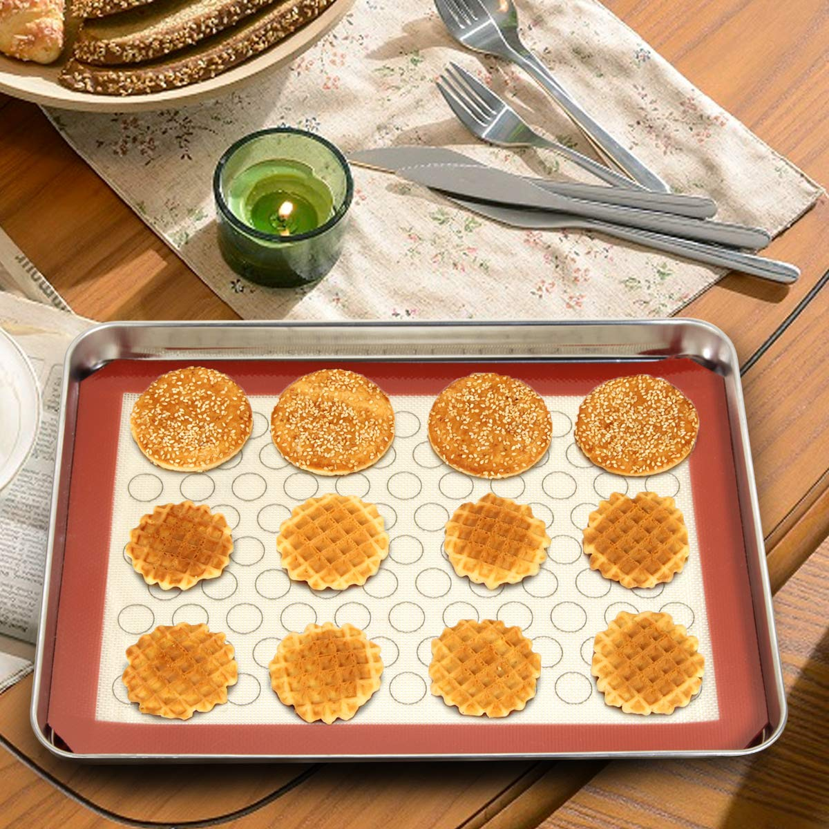 Wildone Baking Sheet with Silicone Mat Set, Set of 6 (3 Sheets + 3 Mats), Stainless Steel Cookie Sheet Baking Pan with Silicone Mat, Non Toxic & Heavy Duty & Easy Clean by Wildone (Image #6)