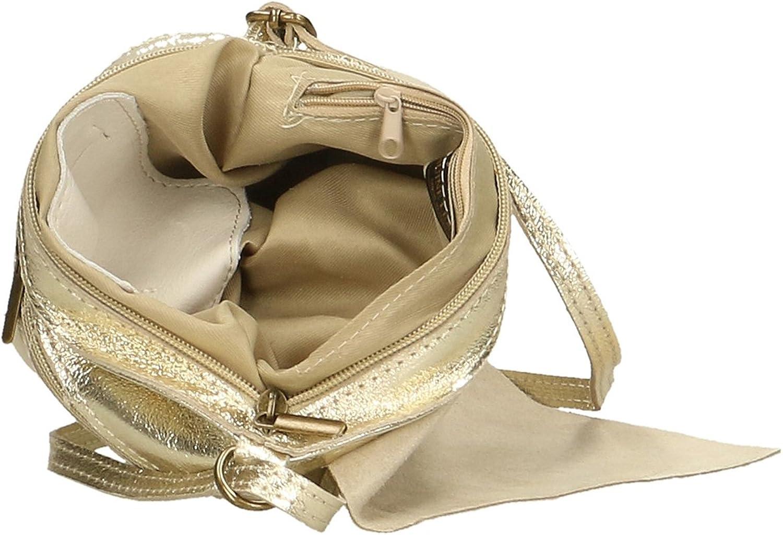 Aren - Sac bandoulière femme en cuir véritable Made in Italy - 23x18x1 Cm Or