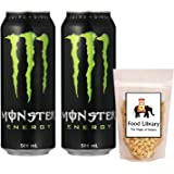 FOOD LIBRARY THE MAGIC OF NATURE Combo of Monster Energy Taurine+Ginseng Drink Can, 500ml (Pack of 2) and Free Food Library Roasted Salted Peanuts, 200g