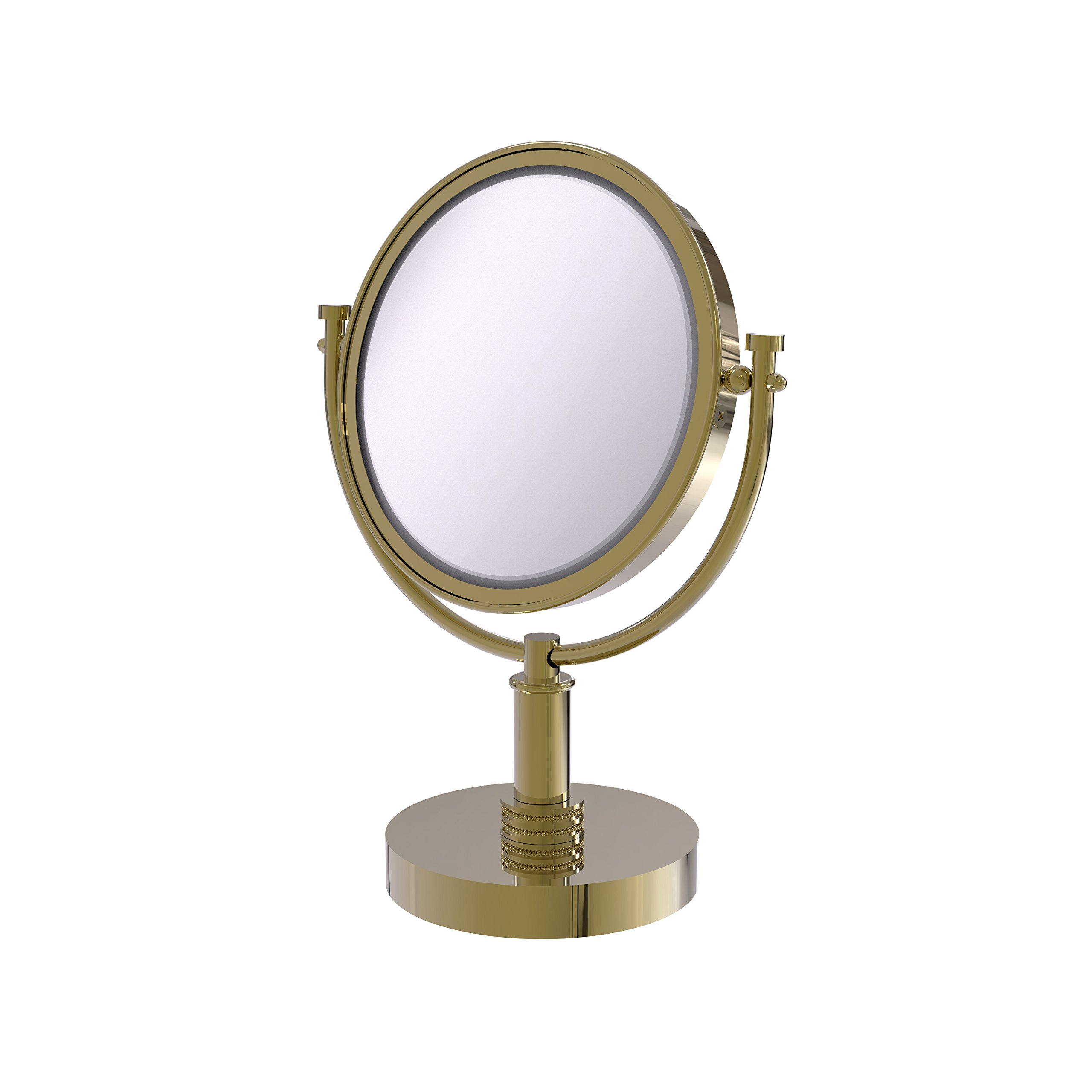 Allied Brass 8 Inch Vanity Top Make-Up Mirror 3X Magnification DM-4D/3X - Unlacquered Brass