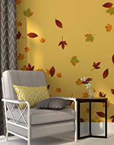 Autumn Leaves Falling Wall Decal Stickers - Fall Colors Decoration. Easy to Apply & Removable. Include 60 Leaves. #AC124