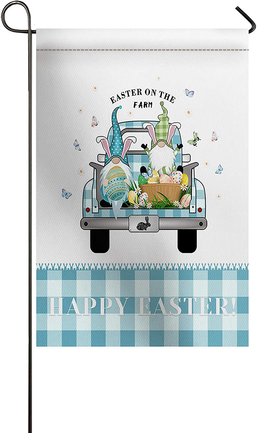 Ocean Party Premium Mini Garden Flag for Outside Happy Easter Happy Dwarf Eggs Fresh Flowers Blue Plaid Truck Print Welcome Garden Flags Burlap Yard Outdoor Decor-Weather Resistant & Double Stitched