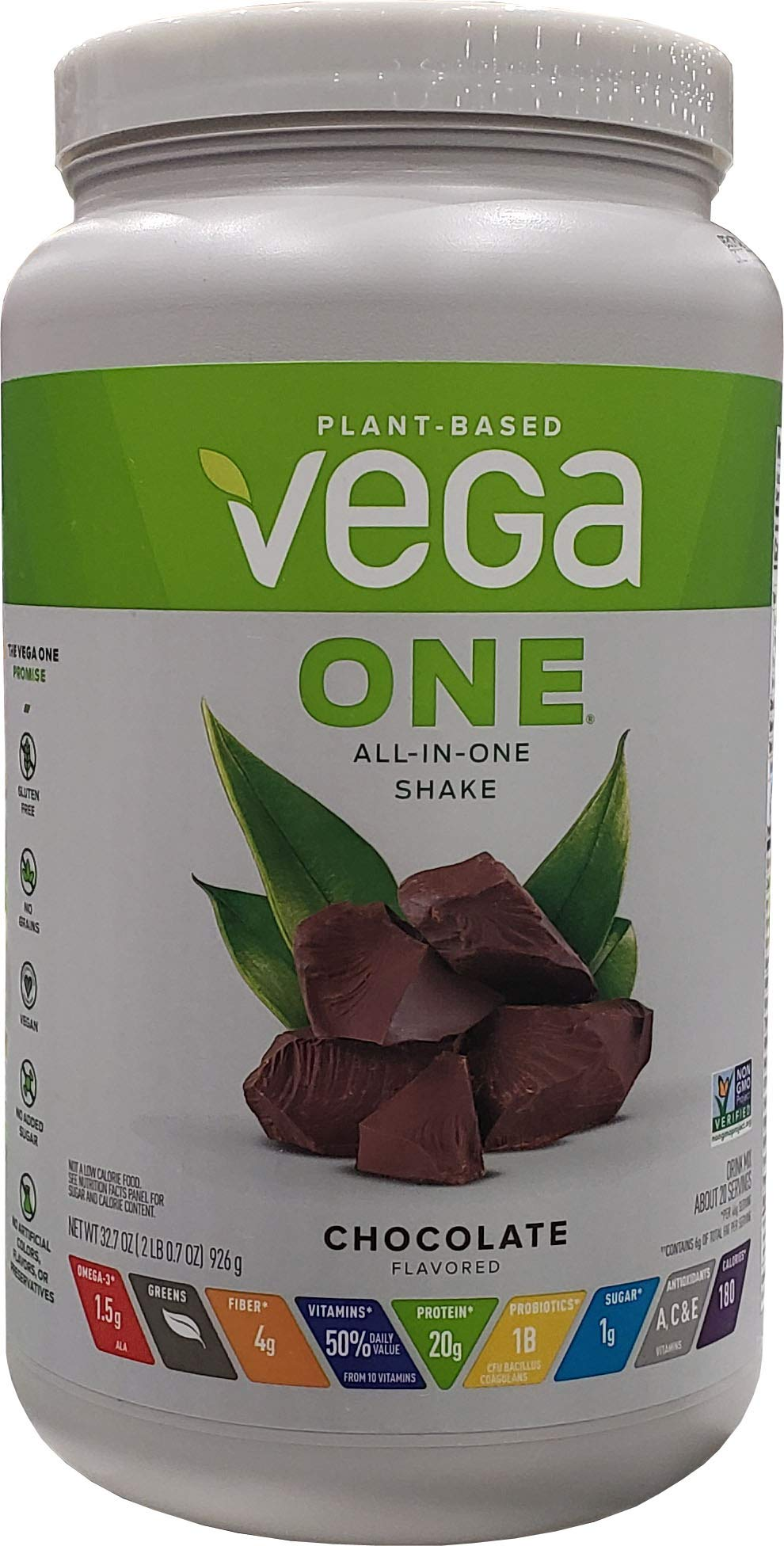 Vega One All-In-One Shake Plant Based Chocolate Mix Vegan 20 Servings 32.7 OZ