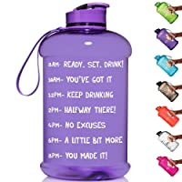 HydroMATE Half Gallon 64 oz Motivational Water Bottle with Time Marker Large BPA...