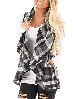 Amazon.com: Oksale - Chaleco de lana para mujer, cálido, sin ...