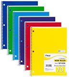 "Mead Spiral Notebooks, 1 Subject, Wide Ruled Paper, 70 Sheets, 10-1/2"" x 7-1/2"", Assorted Colors , 6 Pack (73063)"