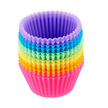 Prefer Green Reusable and Non-stick Silicone Baking Cups/Cupcake Liners/Muffins Cup Molds in storage Container-24 Pack