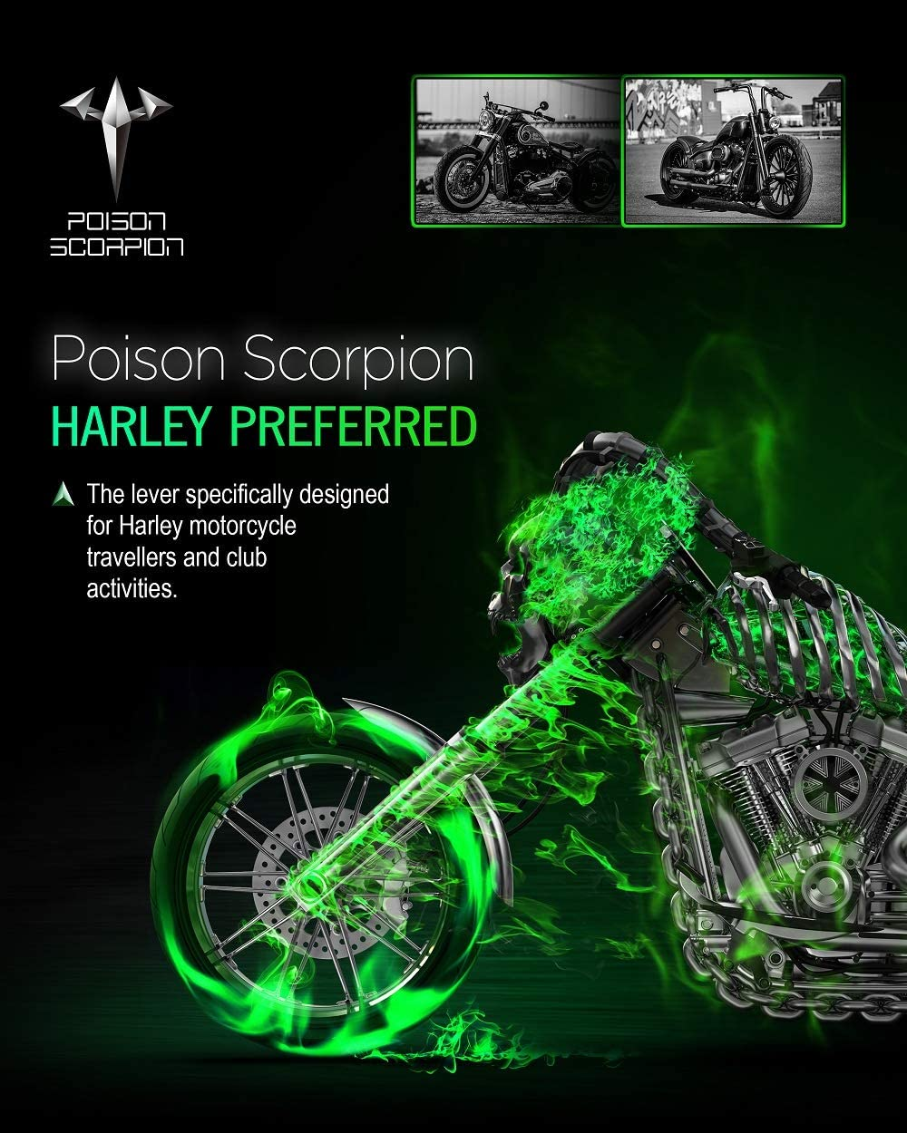 POISON SCORPION Chrome 02010 CNC Brake Clutch Levers Compatible with Sportster Model Motorcycle 1Pair