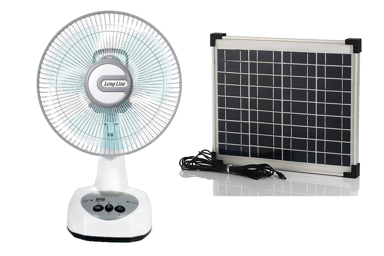 "we4U-1412 ""Solar Rechargeable Ac / Dc Table Fan  Rechargeable fan with solar panel"