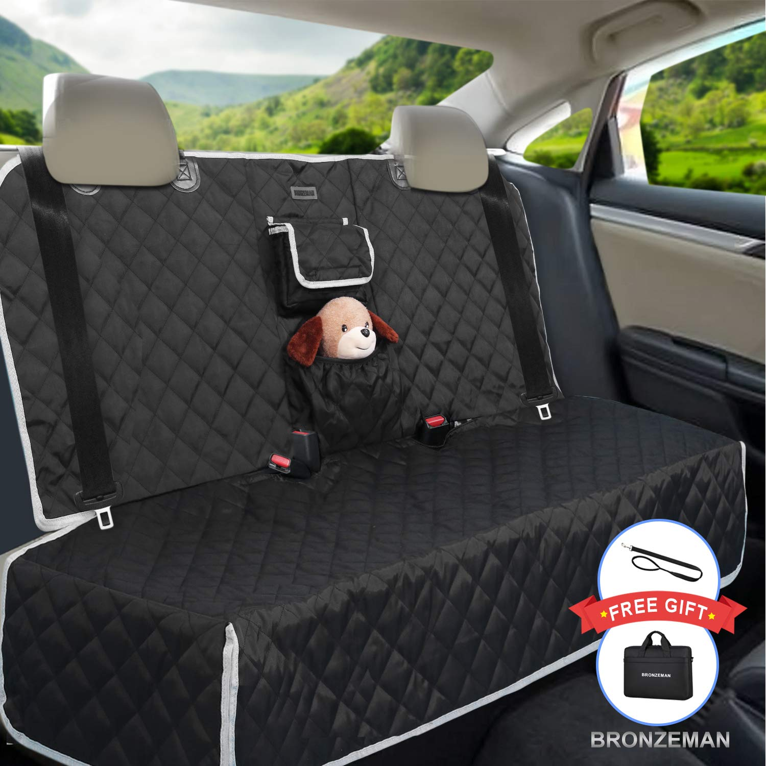 Dog Seat Cover for Back Seat - 100% Waterproof,Nonslip Bench Seat Cover Compatible for Middle Seat Belt | Strong & Durable, Multiuse,Fits All Cars | Bonus Gifts Pack Bag,Dog Leash, Buckle (Black) by BRONZEMAN