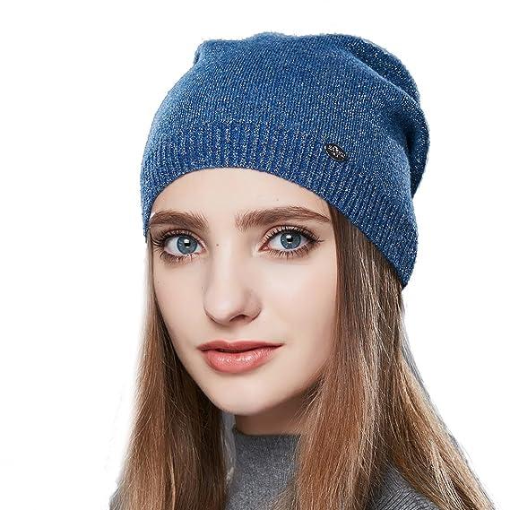 d972908e53b URSFUR Femme Bonnet Jersey Tendance Fille Bonnet Béret Beanie Tricot  Chapeau Laine Hiver bleu