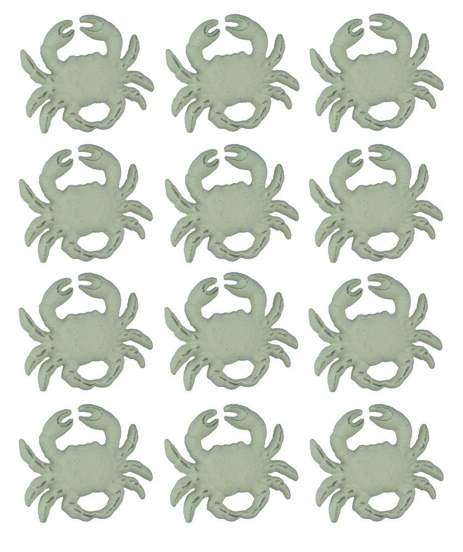 Chesapeake Bay Cast Iron Drawer Pulls Distressed White Cast Iron Coastal Crab Drawer Pull Set of 12 2.75 X 2.25 X 1.75 Inches White
