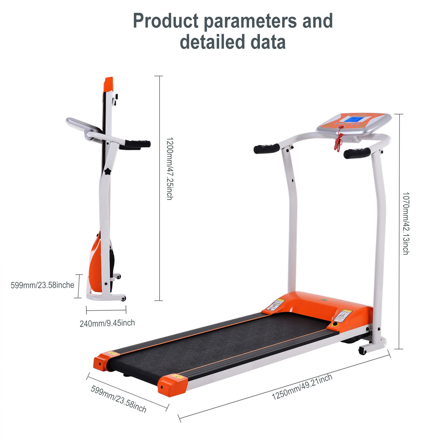 Folding Electric Treadmill Running Machine Power Motorized for Home Gym Exercise Walking Fitness (1.5 HP - Orange - Not Incline) by ncient (Image #5)
