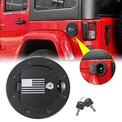 JeCar Gas Tank Door Locking Fuel Filler Door Cover for 2007-2020 Jeep Wrangler JK & Unlimited Sport Sahara Rubicon: Automotive