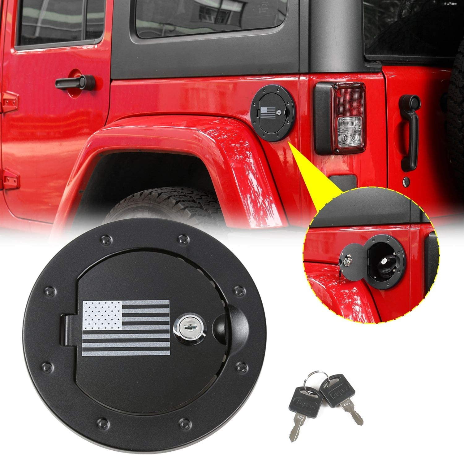 RT-TCZ Locking Gas Cap Cover Fuel Filler Tank Door Accessories for 2007-2017 Jeep Wrangler JK /& Unlimited Sport Rubicon Sahara