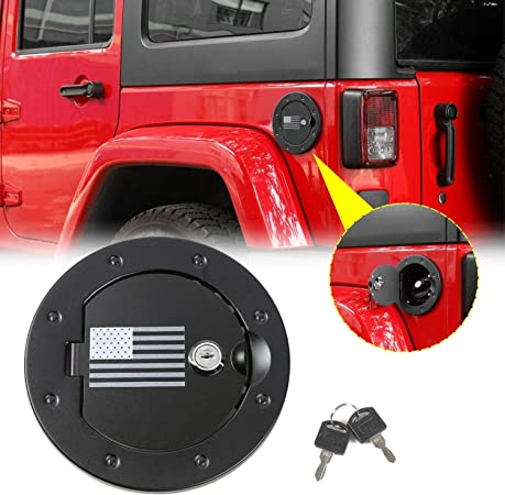 Surborder Shop Fuel Filler Door Cover Gas Tank Cap 2//4 Door for 2007-2017 Jeep Wrangler Unlimited JK Black