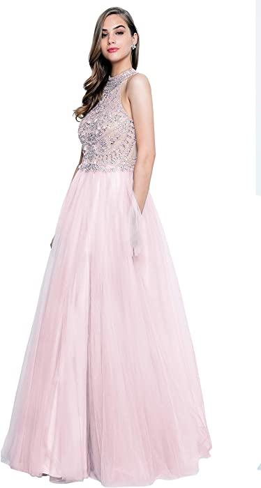 c4c0c992d7f7 Terani Couture Halter Top High-Neck Beaded Bodice Long Ball Gown at ...
