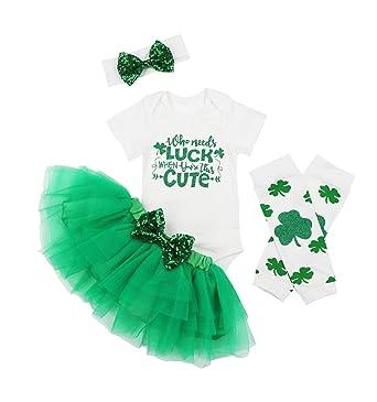 b571c0673 Amazon.com: 4Pcs Outfit Set Lucky Clover Baby Boy Girls My First St ...