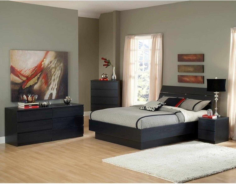 Tvilum Scottsdale 6 Drawer Double Dresser in Black Wood Grain + Free Bundle
