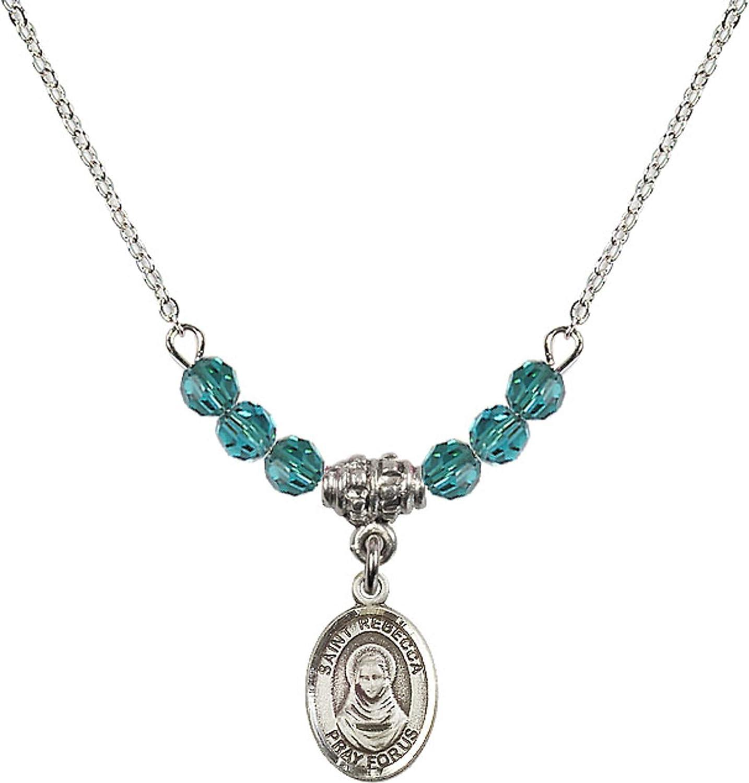 Bonyak Jewelry 18 Inch Rhodium Plated Necklace w// 4mm Blue December Birth Month Stone Beads and Saint Rebecca Charm