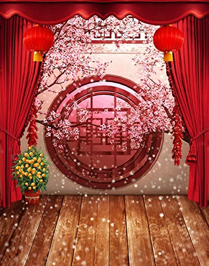amonamour 5x7ft fabric vinyl red chinese lunar new year spring festival theme party wall