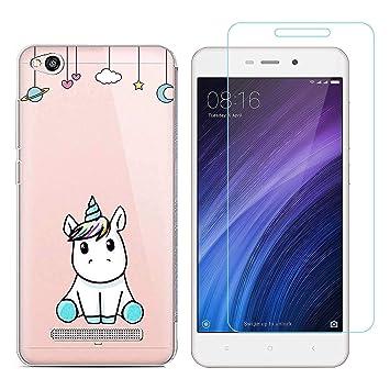 Funda Xiaomi Redmi 4A Unicornio Suave TPU Silicona Protector Trasero Carcasa para Xiaomi Redmi 4A (5,0 Pulgada) con uno Protector de Cristal Templado ...